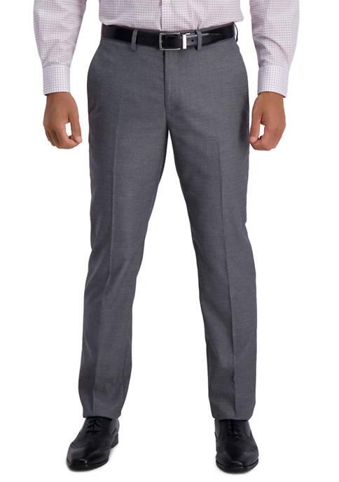 Mens Stretch Subtle Grid Slim Fit Flat Front Premium Flex Waistband Suit Separate Pants