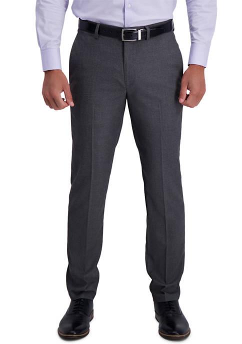 Mens Stretch Basket Weave Slim Fit Flat Front Premium Flex Waistband Suit Separate Pants