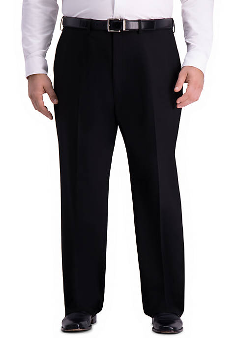 Big & Tall 4 Way Stretch Solid Gab Classic Fit Flat Front Suit Separate Pants
