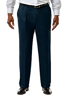 Big & Tall Stretch Sharkskin Classic Fit Pleat Front Suit Pants
