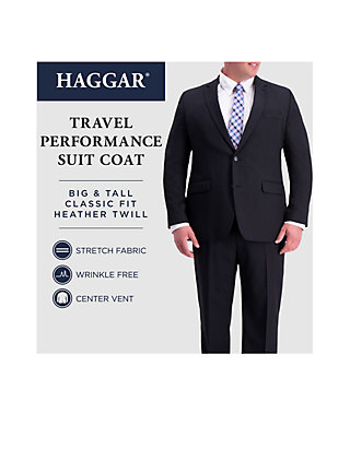 Haggar Mens Travel Performance Heather-Check Tailored-Fit Suit Separate Coat