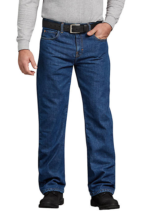 Mens Relaxed Straight Flannel Lined Jeans
