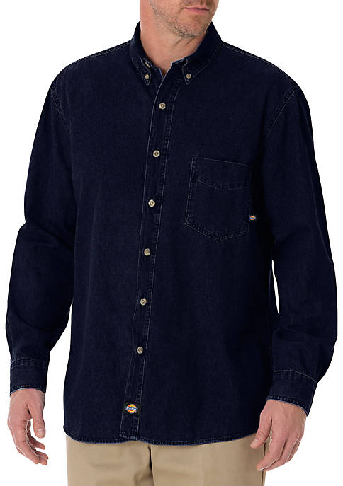 Dickies® Long Sleeve Button-Down Denim Shirt