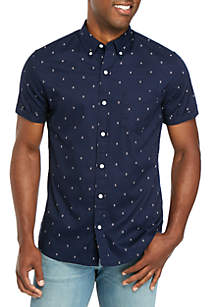 TRUE CRAFT Short Sleeve Printed Poplin Shirt