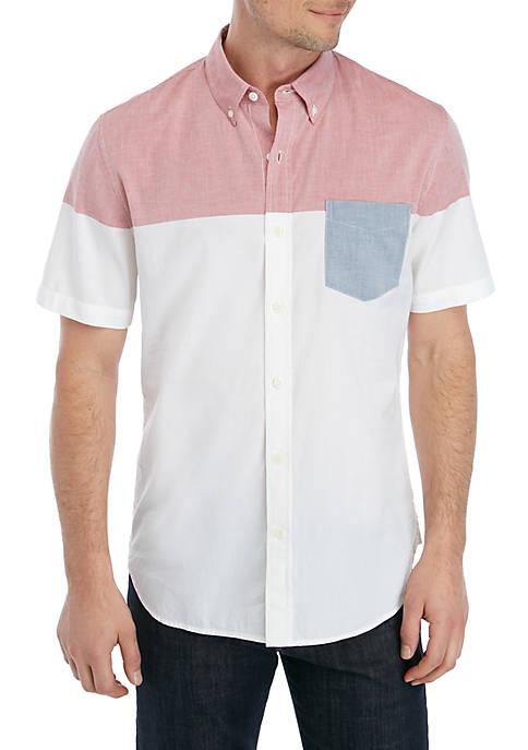 Colorblock Short Sleeve Button Dow Shirt