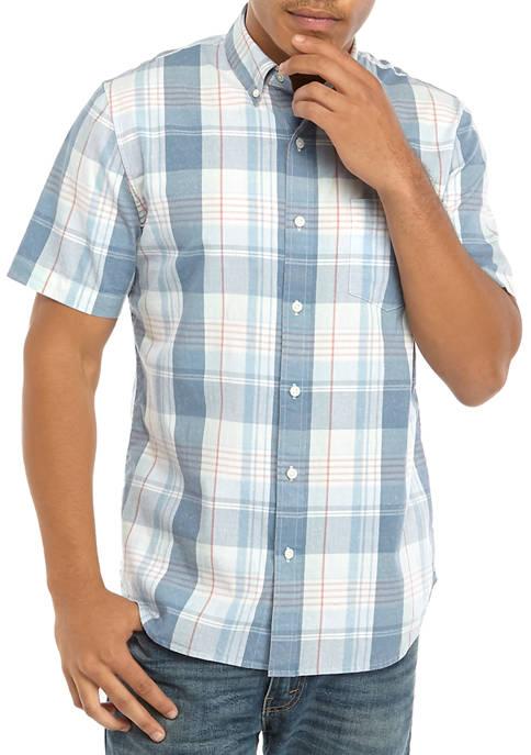 Short Sleeve Yarn Dye Woven Button Down Shirt