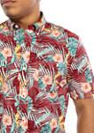 Short Sleeve Floral Print Woven Shirt