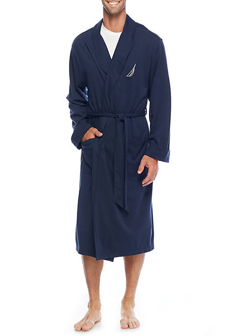 Mens Knit Solid Robe