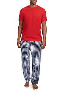 2-Piece Cotton Blend Plaid Pajama Set