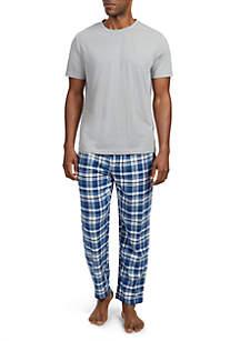 Cotton Blend Multi-Plaid Pajama Set