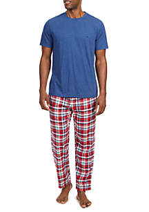 Cotton Blend Multi-Plaid Pajama Set