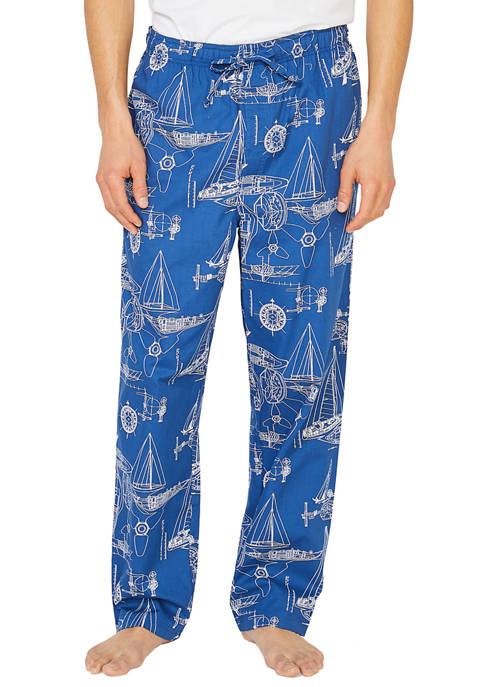 Blueprint Print Woven Sleep Pants