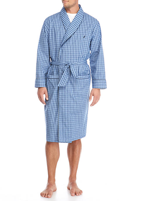Nautica J Class Blue Plaid Robe