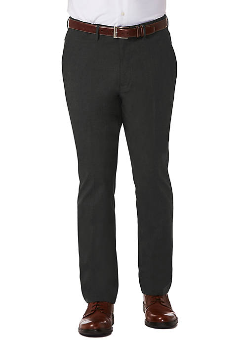 Athleisure Stretch Slim Fit Flat Front Dress Pants