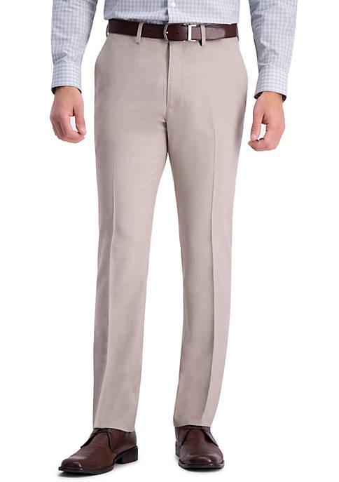 Stria Weave Slim Fit Flat Front Dress Pants