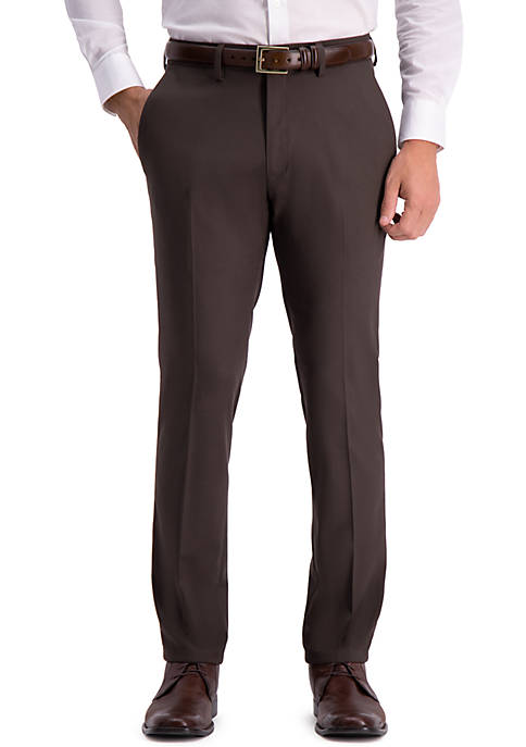 Stretch Shadow Check Slim Fit Flat Front Dress Pants