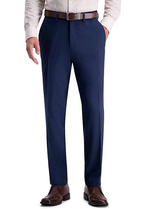 Recycled Micro Check Slim Fit Flat Front Dress Pants