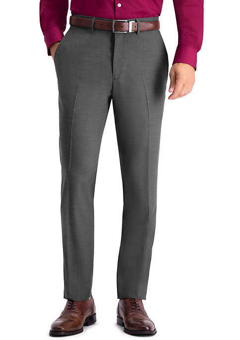 Stretch Texture Weave Slim Fit Flat Front Dress Pants