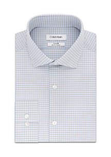 Long Sleeve Slim Stretch Fit Plaid Spread Collar Dress Shirt