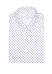 Slim Stretch Multi Line Square Print Shirt