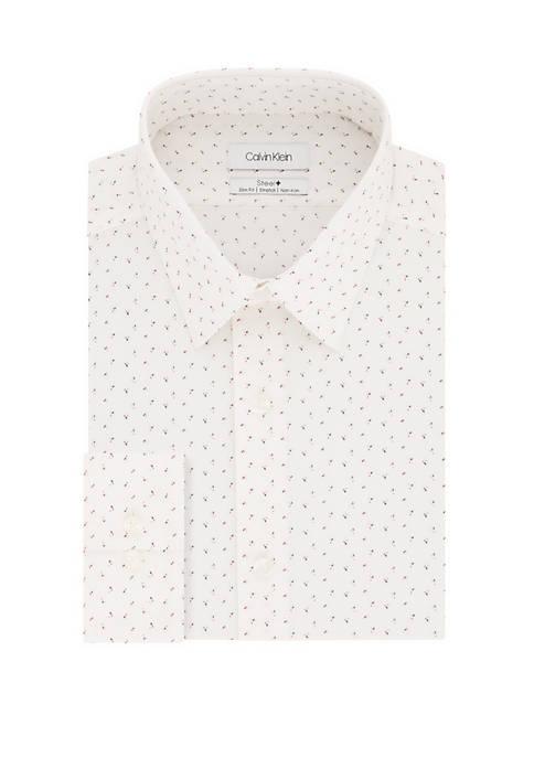 Slim Stretch Non Iron White Print Dress Shirt