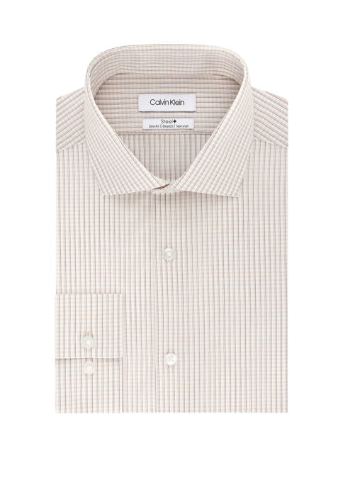 Steel Stretch Non Iron Slim Fit Check Print Dress Shirt