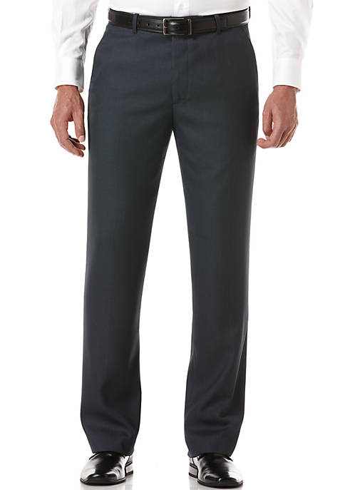 Classic-Fit Flat-Front Non-Iron Sharkskin Dress Pants