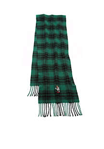 Bear Embroidered Plaid Scarf