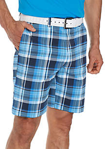 Flat Front Madras Plaid Shorts