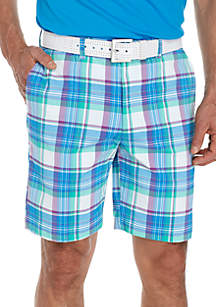 Flat Front Madras Plaid Shorts