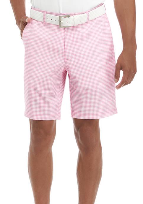 Flat Front Check Print Shorts