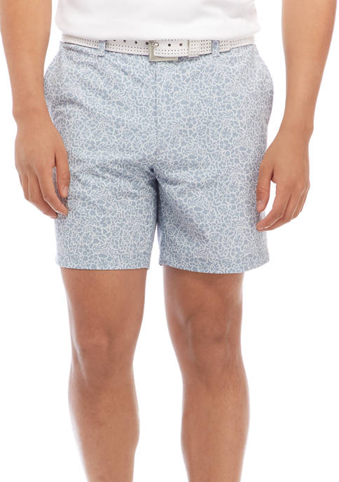 Flat Front 7 Inch Hibiscus Print Shorts