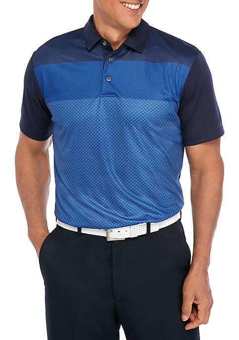 Short Sleeve Gradient Geo Print Polo Shirt
