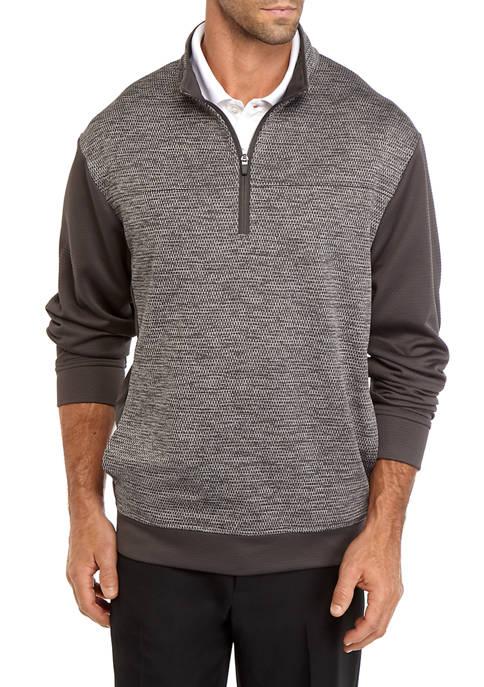 Mens Long Sleeve Textured Fleece 1/4 Zip Pullover