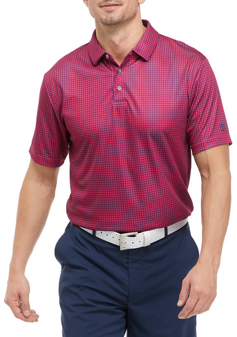 Short Sleeve Gingham Polo Shirt