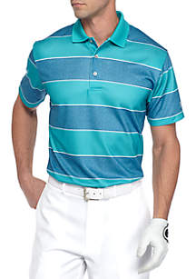 Short Sleeve Airplay Rugby Print Stripe Polo Shirt