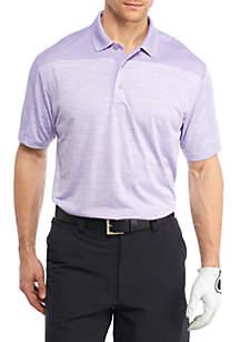 Short Sleeve Space Dye Color Block Polo Shirt