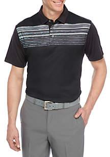 Short Sleeve Gradient Spacedye Chest Stripe Polo