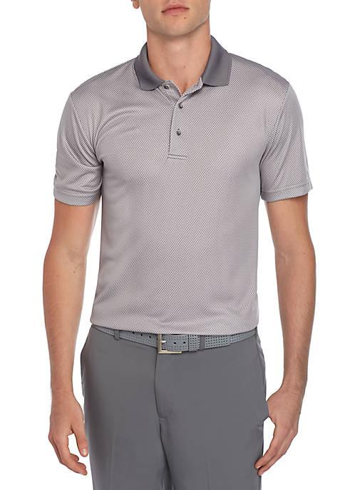 Short Sleeve 2 Color Jacquard Polo Shirt with Birdseye Collar
