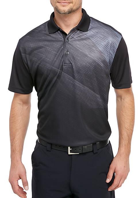 Asymmetrical Space Dye Twill Polo Shirt