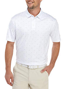 Pro Tour® Short Sleeve Mini Allover Print with Tipped Cuff Polo Shirt