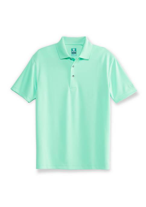 Mens Short Sleeve Polo Shirt with Diamond Texture