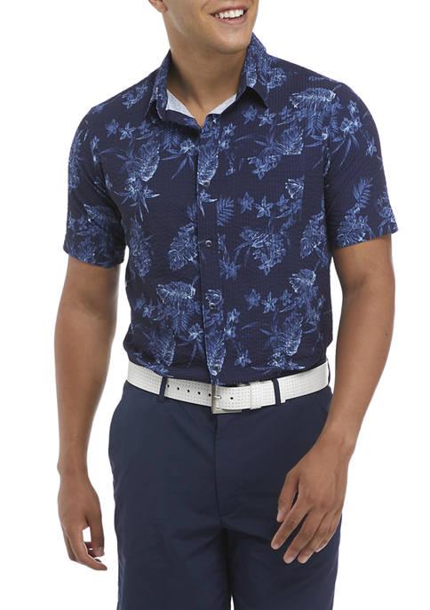 Pro Tour® Mens Short Sleeve Seersucker Tropical Print