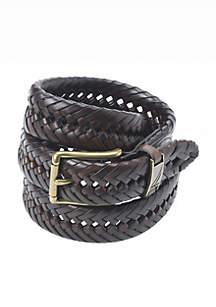 Leather Handlace Basket Weave Braided Dress Belt