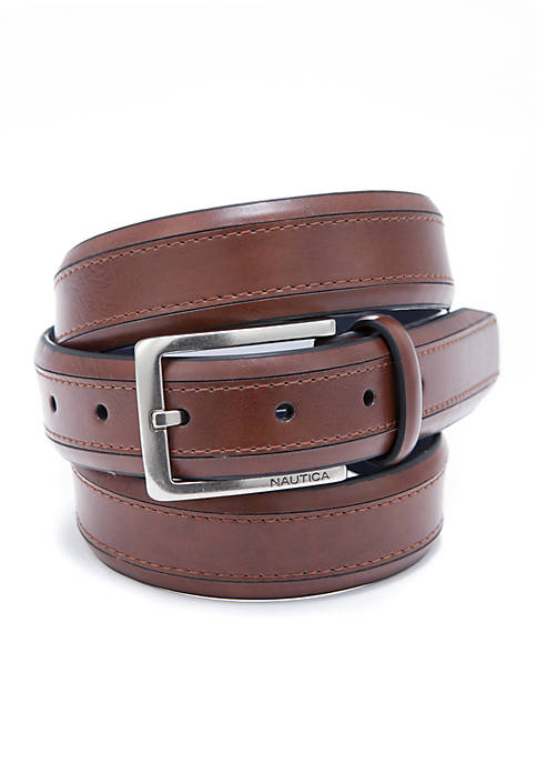Nautica Stitched Tan Belt