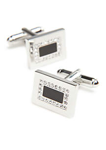 Rhodium Rectangle Black Crystal Center Cufflinks