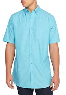 Big & Tall Short Sleeve Windowpane Woven Shirt