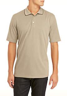 Big & Tall Short Sleeve Houndstooth Polo Shirt