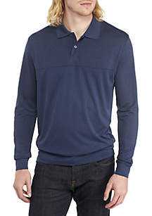 Long Sleeve Blocked Polo Shirt