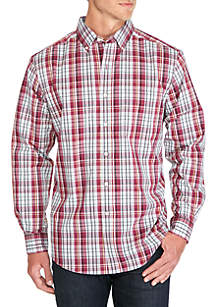 Long Sleeve Saturated Big Plaid Stretch Button Down Shirt